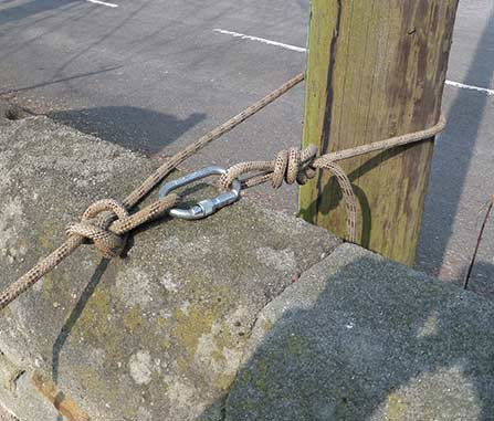 Securely fixing a rope on the opposite side of the Church