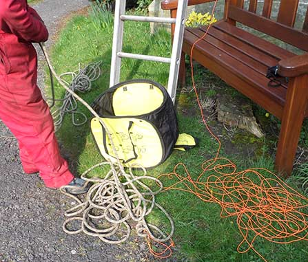 Attaching a rope to the line
